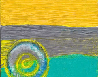 Original Art Gifts Untitled Yellow Teal White Circles Abstract Painting Mixed Media