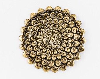 42mm Antique Gold Chrysanthemum #ZWS037