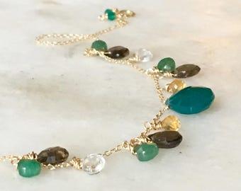 Gemstone Necklace, Green Onyx and Smoky Quartz Necklace, Gold-filled Necklace, Multicolor Gemstone Necklace,