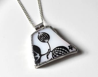 Broken China Jewelry Pendant - Black and White Pyrex Goodberry