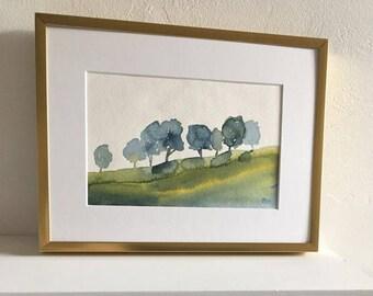 original landscape painting tree landscape landscape watercolor landscape pamela munger matted art