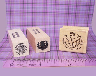 Wee Scottish Thistle Rubber Stamp Set of 3 * Botanical Symbol of Scotland