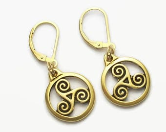 Triskele Dangle Earrings 22kt Gold Plated Over Pewter Leverback Earwires Ancient Celtic Triple Spirals