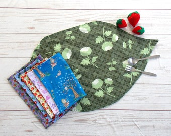 Fairy Leaf Placemat and Napkin Set ~ Lunch Napkin Set ~ Fairy Lunch Sent ~ Fairy Snack Set ~ Fairy Snack Mat Set ~ Princess Snack lunch Set