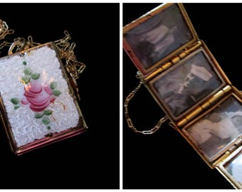 Vintage Coro 4 Picture Locket Necklace - Book of Love