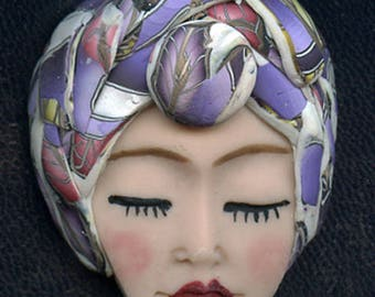NEW ! OOAK Polymer Clay One of a kind Detailed   Face with Textured Hat ASN 1
