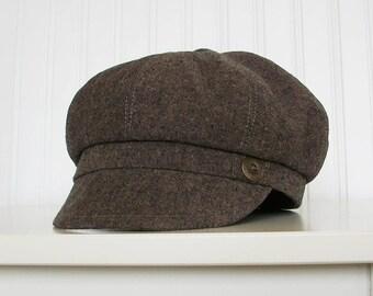 Brown Linen Newsboy Hat For Women   Newsboy Cap   Womens Newsboy Hat - Made To Order