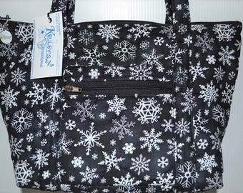 Quilted Fabric Handbag Beautiful White Snowflakes on Black