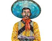 Southwestern Vaquero Cowboy Original Paper Collage