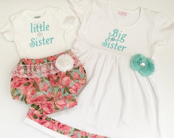 Big Sister Little Sister OUTFITS .. Shabby chic Pink and aqua sister Set..new baby , baby shower
