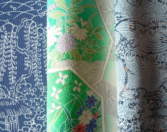 Lighe Blue Green Mix Japanese Vintage Silk Kimono Fabric Set of 3 Craft Supply Crazy Quilt Upcycle Handmade