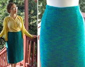 1960s Inspired Fashion: Recreate the Look OCEAN Blue 1960s Vintage Heathered Teal Blue Knit Wool Pencil Skirt  size XL Large  Waist 35 36 $54.99 AT vintagedancer.com