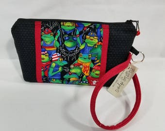 Biker Frog Motorcycle Clutch with zipper wristlet bag small zippered cosmetic pouch purse