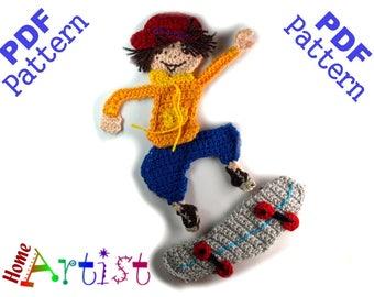 Skateboarder Crochet Applique Pattern