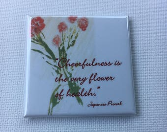 Square Magnet With Positive Japanese Proverb