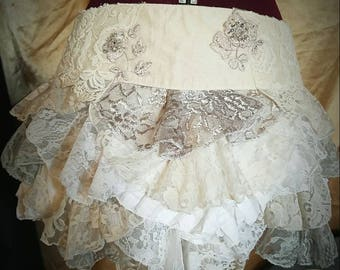White Wedding Gypsy Ruffle Bustle
