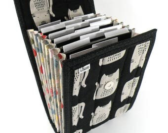 Circular Needle Case - Cats on Black - Needle Holder Needle Wallet Circular Needle Organizer