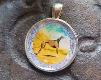 Greyhound on the hill pendant