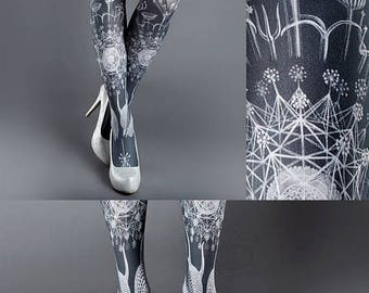 SALE///endsAug22/// Tattoo Tights, Marine Life Tights white Closed Toe one size full length printed tights, pantyhose, nylons, tattoo socks