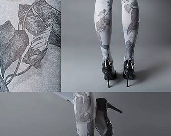 SALE///endsAug22/// Tattoo Tights -  Climber Plant grey one size full length closed toe pantyhose tattoo socks ,printed tights
