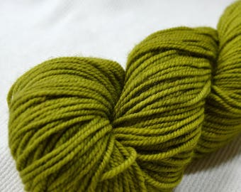 New Yarn New Color Freewheel Organic Merino Worsted Weight by Yarn Hollow in Limelight Hand Dyed Semi Solid 4 ounces 250 yards