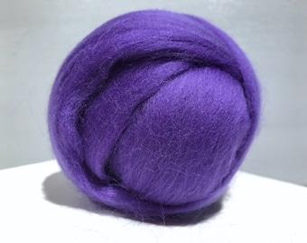 Violet Merino Roving, Needle Felting wool, Spinning Fiber, Medium Purple Merino, felting wool, violet wool, purple Merino roving