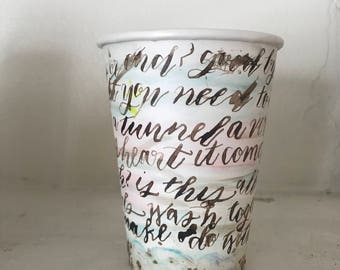 goodbyes - art on coffee cup