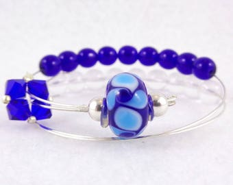 Row Counter Bracelet Abacus for Knitting or Crochet, Count up to 100, Slip On, Clasp Free, Blue Lagoon