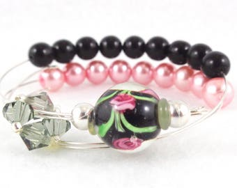Row Counter Bracelet Abacus for Knitting or Crochet, Count up to 100, Slip On, Clasp Free, Prom Formal