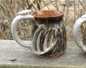 12 oz deer antler mug handmade stoneware pottery gift for the hunter coffee camoflauge