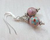 Minimalist Earrings Dainty Earrings Cloisonne Earrings Blue Earrings Asian Earrings Geisha Earrings Handmade Gifts for Tween Girls Earrings