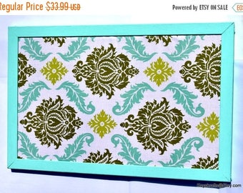 Christmas In July 30% Off Dill and Blue Damask Cork Board, Aqua Frame Corkboard, Green Blue Damask Fabric,Tack Board, Cork Bulletin Board, 1