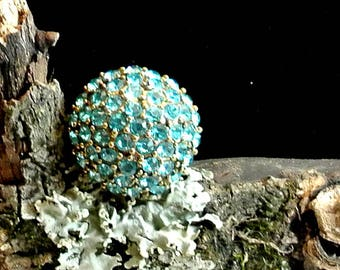 Aqua Blue Rhinestone Statement Ring Vintage Ball Stretch Band Ring Size 6 Ring Metal Stretch Band Aged Gold Tone Band Blue Dome Ring