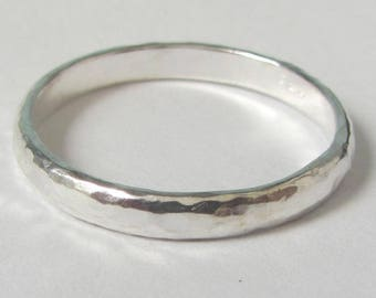 small hammered wedding band for him  or her