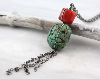 Natural Coral and Turquoise Long Oxidized Silver Necklace