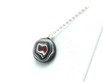 Detroit Fordite Necklace Recycled Vintage Auto Paint Red Green White Swirls Faux Bois Small Petite Medallion Sterling Upcycled Round Blue