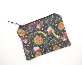 Stranger Things Zipper Pouch Earbud Holder Gift For Her Stranger Things Fan Business Card Holder Credit Card Holder Stranger Things Bag