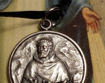 Vintage Silver Saint St Francis Religious Medal Pendant Prayer The Lord Bless You and Keep You Message