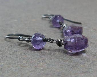 Purple Amethyst Earrings Dangle February Birthstone Oxidized Sterling Silver Earrings Gift for Her
