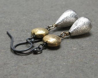 Silver and Gold Earrings Mixed Metals Geometric Holiday Jewelry Oxidized Sterling Silver Earrings