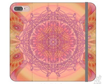 Mandala phone case, BOHO, iPhone wallet case, iphone 7 Wallet case, S8 wallet case, iPhone 7 plus wallet case, iPhone wallet cases, pink