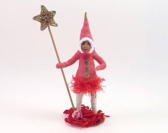 READY TO SHIP Vintage Inspired Spun Cotton Independence Elf Figure Ooak