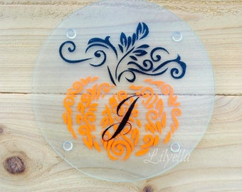Fall Personalized Trivet/Cheese Plate  Appetizer Plate - Cutting Board - Trivet  Round Cutting Board  - Glass Cutting Board Hostess Gift