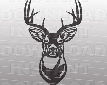 Buck Head Deer Hunting SVG File Cutting Template-Silhouette Clip Art for Commercial & Personal Use-Cricut,SCAL,Cameo,Sizzix,Pazzles,Vinyl