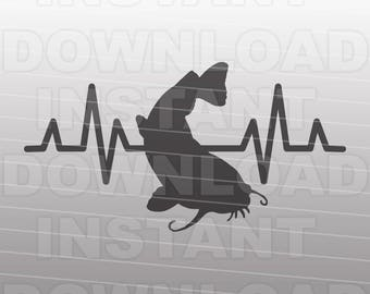 Catfish Fisherman EKG Heartbeat Pulse SVG File -Commercial & Personal Use- Vector Art for Cricut,Silhouette Cameo,iron on vinyl Shirt Decal