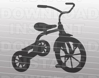 Tricycle SVG File Cutting Template-Vector Clip Art for Commercial & Personal Use-Cricut,Silhouette,Explore,Cameo,Sizzix,Pazzles,Vinyl,Decal
