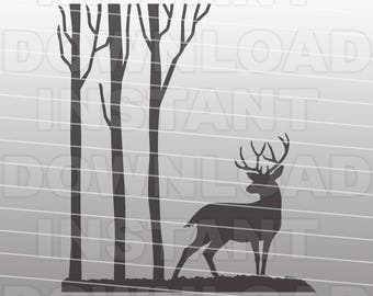 Deer in the Woods SVG File-Deer SVG File-Cutting Template-Vector Clip Art Commercial & Personal Use-Cricut,Cameo,Silhouette,Vinyl,Wall Decal