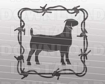 Barbed Wire Boer Goat SVG File,Goat SVG File,Farm Animal SVG-Vector Clip Art for Commercial & Personal Use-Cricut,Cameo,Silhouette,Cut File