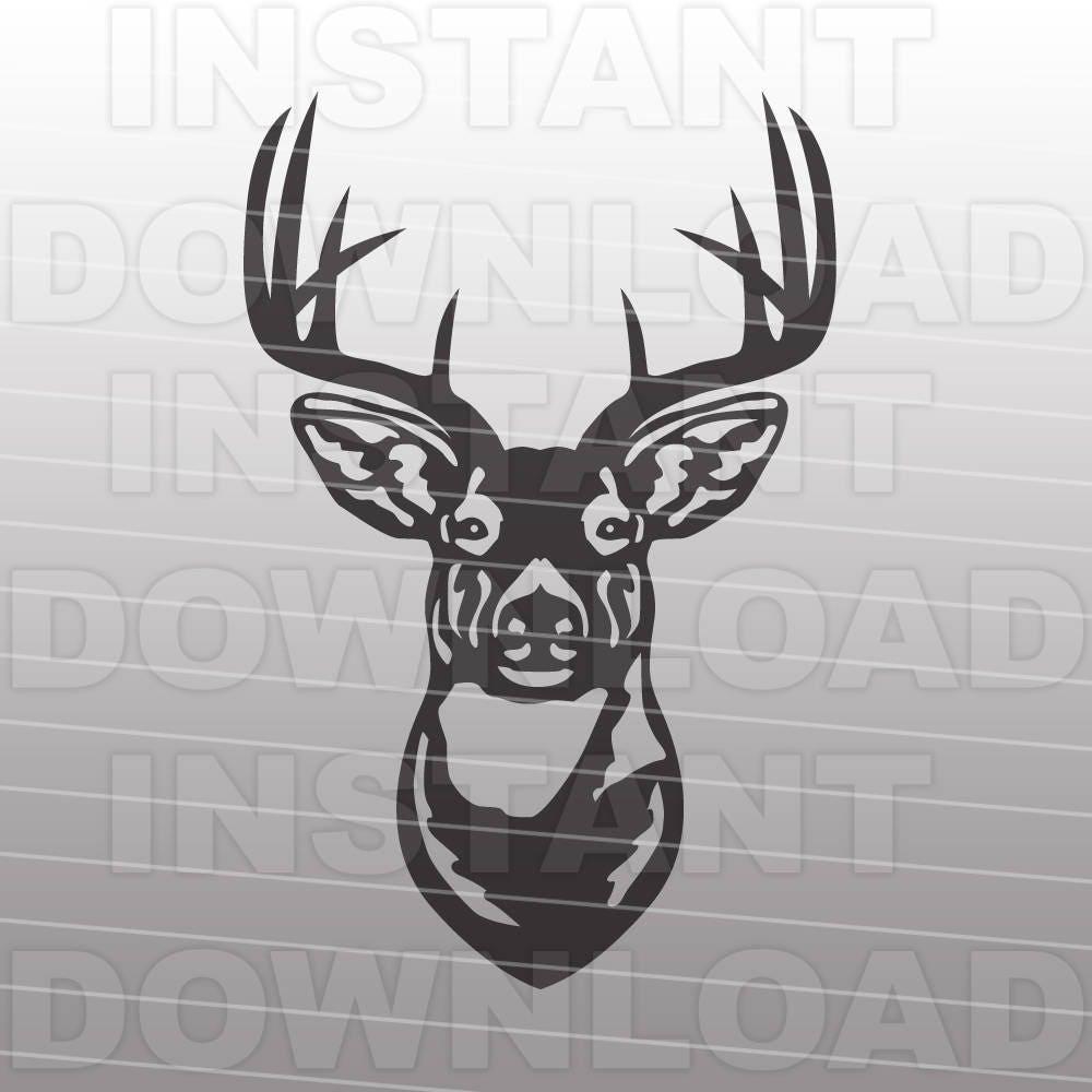Buck Head Deer Hunting Svg File Cutting Template Silhouette
