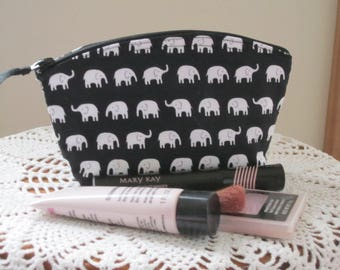 Tiny Elephants Cosmetic Bag Clutch Zipper Purse Essential Oils Case  Made in the USA Bridal Wedding